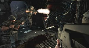 Aliens Colonial Marines close range fire fight