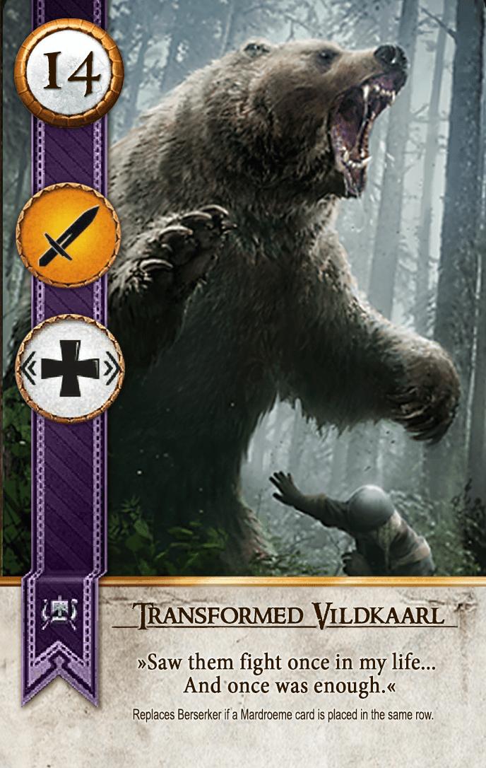 Transformed Vildkaarl Gwent Card